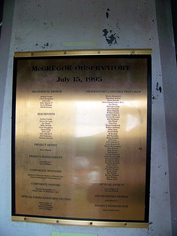 The McGregor Telescope roll call.