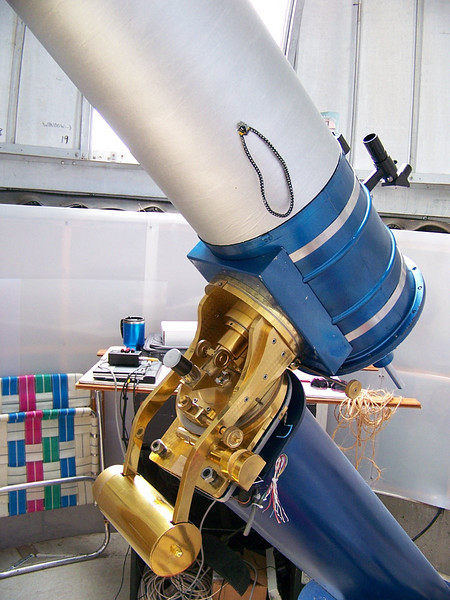 The telescope is a 10 inch Ritchey Chretien F-30 instrument. It features beautiful brass work.