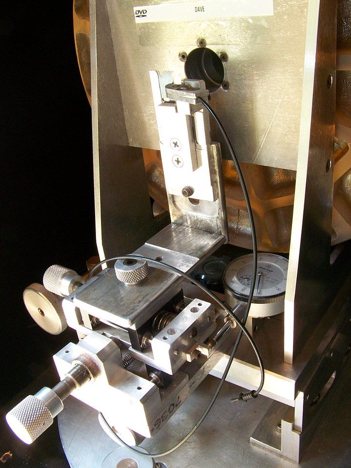 """A well made  Foucault Tester that resides within the optical testing """"tunnel""""."""