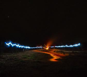 Light Trails around the camp fire
