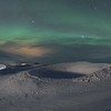 Myvatn Aurora over the Skútustaðagígar Pseudocraters  - Panoramic 3