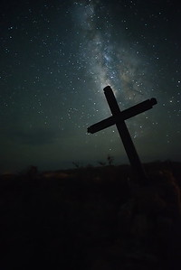 Terlingua Ghost Town Cemetery & Cross Backlit by the MIlky Way
