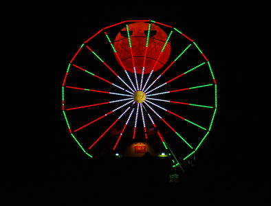 Super Moon in the Ferris Wheel; Galveston Pleasure Pier