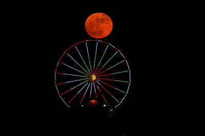 Super Moon Over Galveston's Pleasure Pier