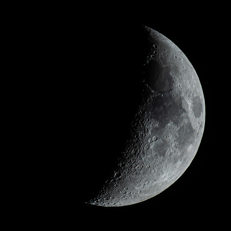 Waxing Crescent Moon 38% illuminated taken 29th May 2020 at 00:20am BST