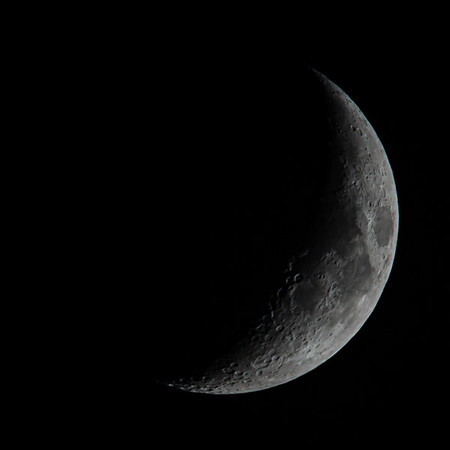 Waxing Crescent Moon 27% illuminated taken 27th May 2020 at 11:13pm BST