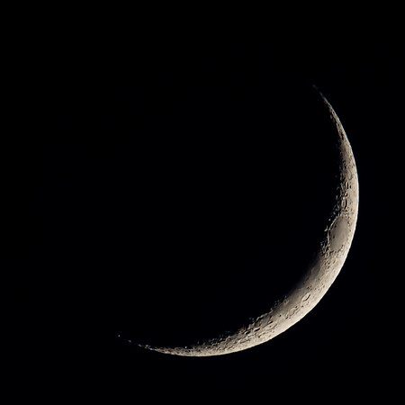 Waxing Crescent Moon 10% illuminated taken 25th May 2020 at 09:51pm BST
