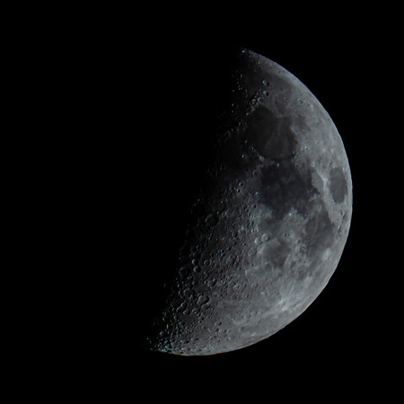 1st Quarter Moon 49% illuminated taken 30th May 2020 at 01:25am BST