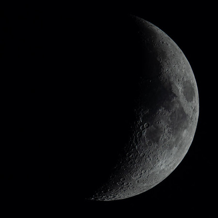 Waxing Crescent Moon 34% illuminated taken 26th June 2020 at 9:57pm BST