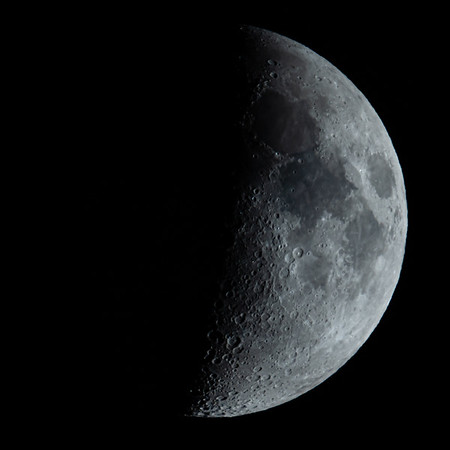 Waxing Crescent Moon 45% illuminated taken 27th June 2020 at 10:11pm BST
