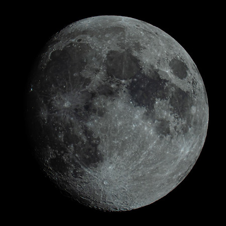 Waxing Gibbous Moon 93% illuminated taken 3rd July 2020 at 10:42pm BST
