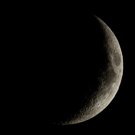 Waxing Crescent Moon 24% illuminated taken 25th June 2020 at 10:26pm BST