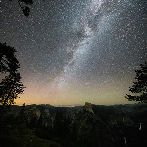 Milkyway & Andromeda Rising Over Yosemite Valley & Half Dome.