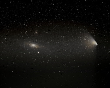 M31, the Andromeda Galaxy (left) and Comet C 2011/L4, PanSTARRS (right).