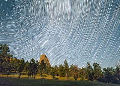 Star Trails Over Devils Tower