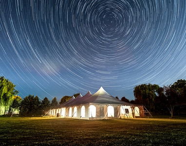 Doug & Laura's Wedding Party Tent Under Star Trails - Plano, IL