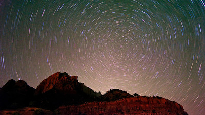 Circular star trials, and Polaris above Zion National Park, UT.