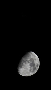 Waxing gibbous moon and Jupiter - see full size version for best results.