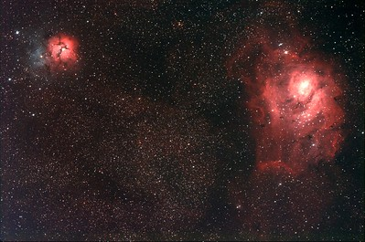 The Trifid and Lagoon Nebula