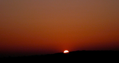 Sunset in volcano ash