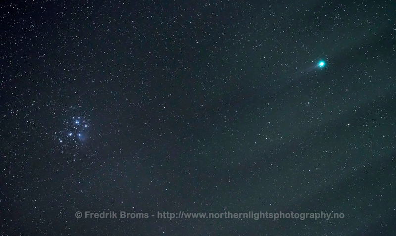 Comet C/2014 Q2 Lovejoy and The Pleiades (M45), Norway, 18 January 2015