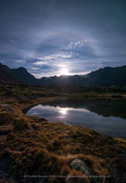 Moon Halo over Norwegian Fjord, Norway