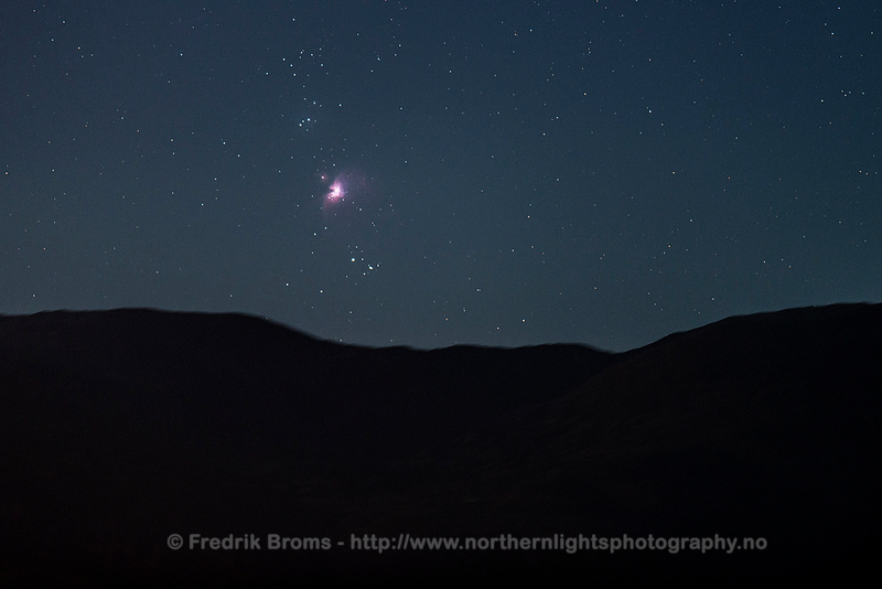 The Orion Nebula rising over the Mountains