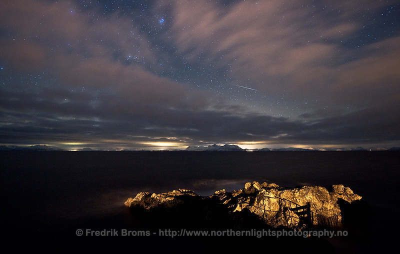 Meteor streaking over Andfjorden, Norway