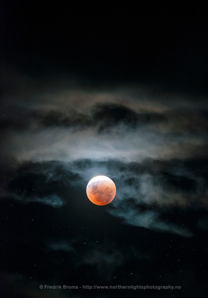 Total Lunar Eclipse just before Totality, Norway