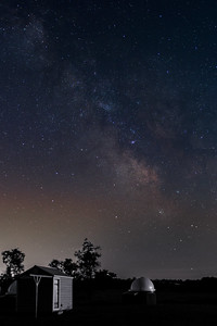 Summer Milky Way with my observatory in the foreground (the roll-off roof shed). July 04, 2014