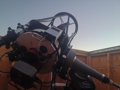 """Ian's 12 1/2"""" telescope at the observatory"""