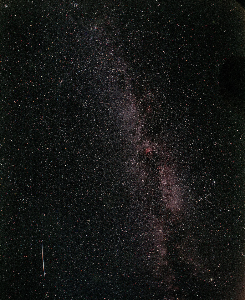 Captured on a film frame is the brightest meteor I saw myself.  This one lit up the ground and left a lingering trail.