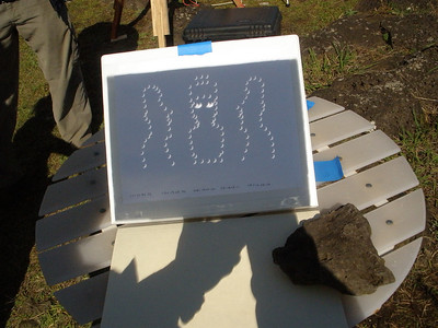 Pinhole images created by Jean's Easter Island theme design.