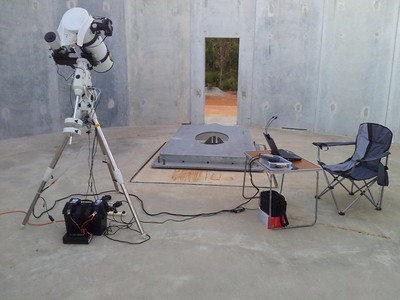 Setup for Astrophotography at Perth Observatory - 10/1/2013  Located in 'Concretehenge', sadly the now forever incomplete dome that was to house a 1-metre telescope for expanded Perth Observatory research, now terminated by budget cuts.