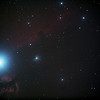 IC434 Horsehead Nebula and NGC2024 Flame Nebula near Star Alnitak - 13/10/2013 (Processed stack)