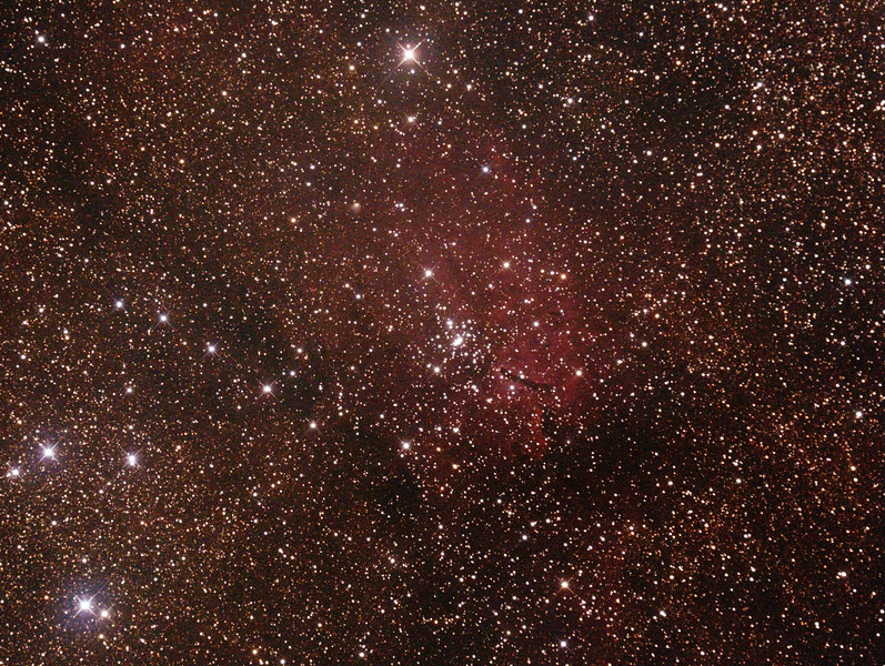 NGC6820 Nebula and NGC6823 Open Cluster in Vulpecula - 10/7/2015 (Processed cropped stack)