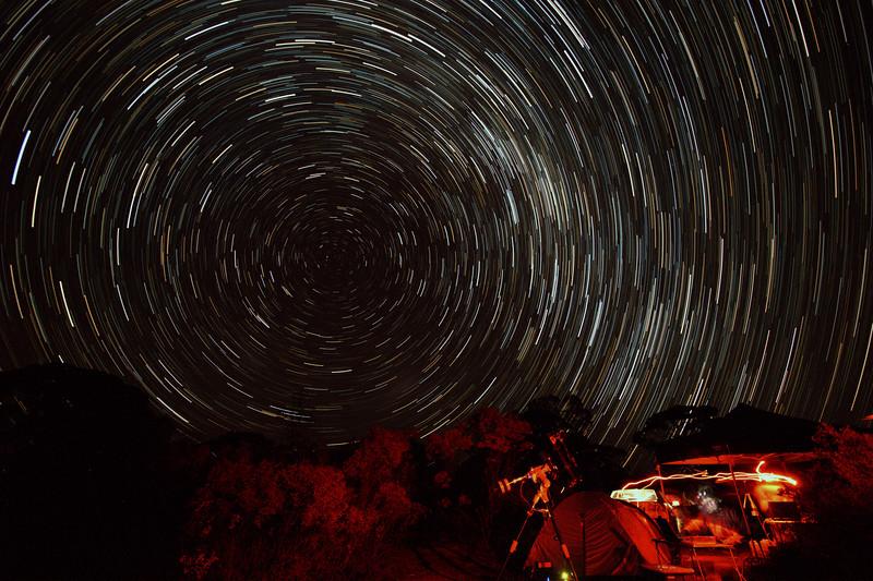Imaging at Karalee Rocks under South Polar Star Trails - 23/5/2015 (Processed stack)