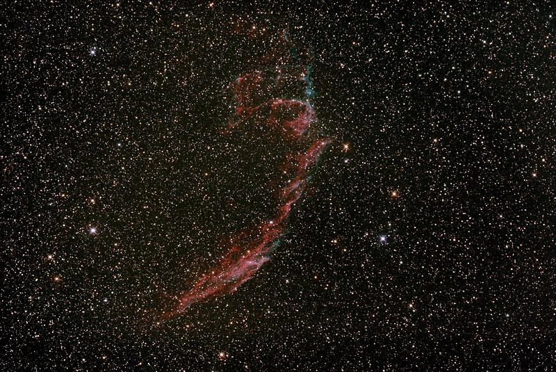 Caldwell C33 - NGC6992/6995 - IC1340 - Eastern Veil Nebula (Supernova Remnant) - 14/8/2015 (Processed stack)