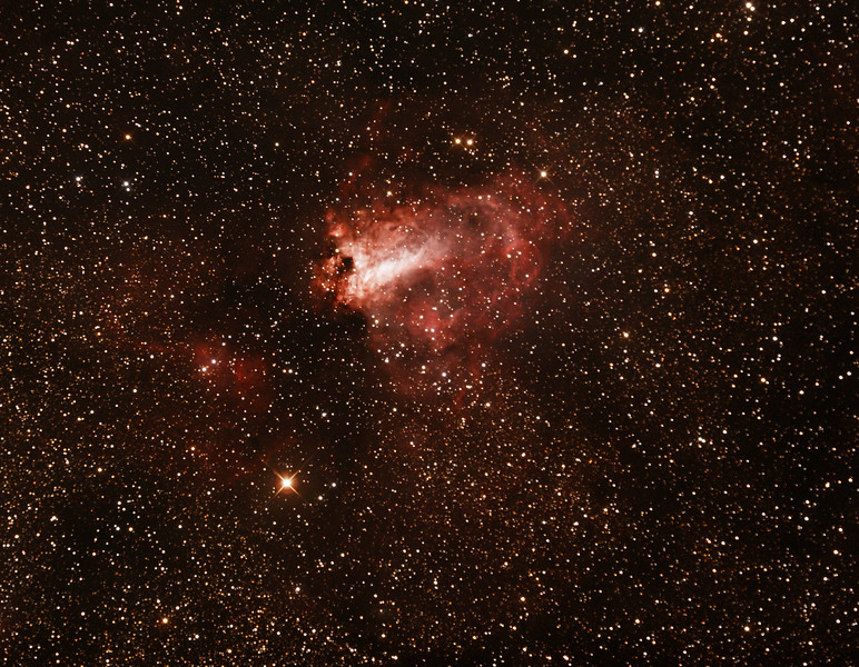 Messier M17 - NGC6618 - Gum81 - Omega or Swan Nebula - 14/8/2015 (Processed cropped stack)