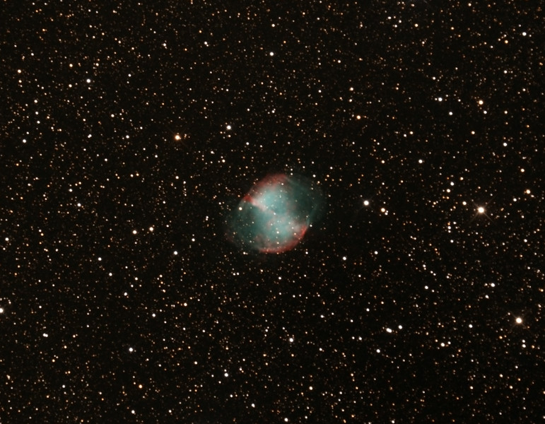 Messier M27 - NGC6853 - Dumbbell Planetary Nebula in Vulpecula - 10/7/2015 (Processed cropped stack)