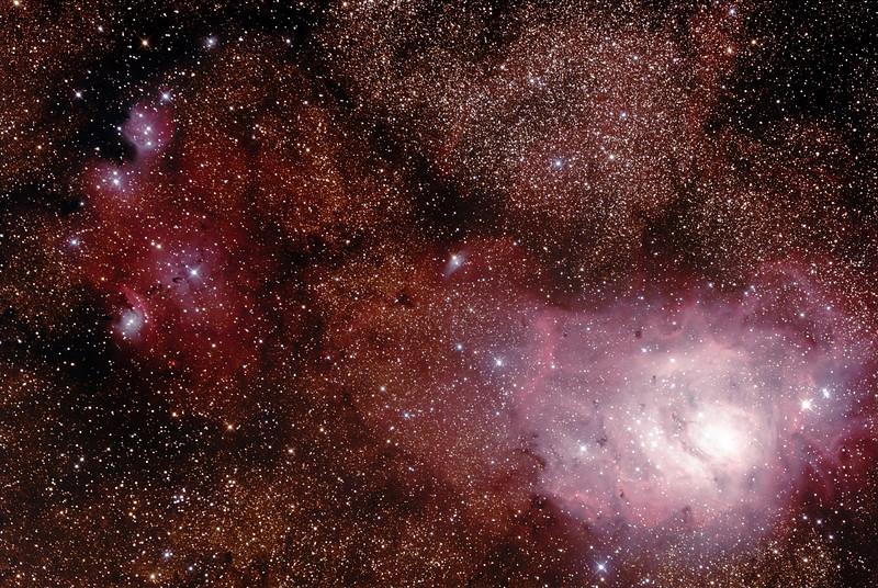 IC1274-5 Gum75 & NGC6559 Nebula with IC4685 Dark Nebula and M8 Lagoon Nebula in Sagittarius - 10/7/2015 (Processed stack)