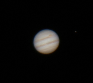 Jupiter at Opposition with one Galilean Moon -6/2/2015 (Processed cropped stack)