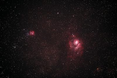 M8 NGC6523 Lagoon Nebula and Cluster, M20 NGC6514 Trifid Nebula - 3/6/2017 (Processed stack w/o FLATS)