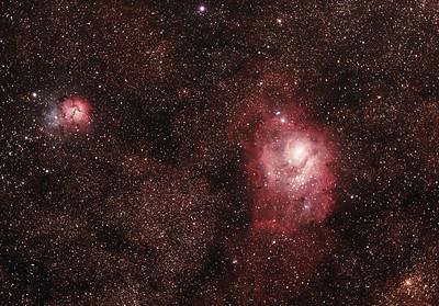 M8 NGC6523 Lagoon Nebula and Cluster, M20 NGC6514 Trifid Nebula in Scorpius - 17/6/2017 (Cropped processed stack)
