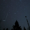 Long Geminid meteor meets a flaring artificial satellite. In reality, both were likely very far from each other... just an interesting line of sight! Taken on the morning of December 14 2017.<br /> <br /> Canon 6D, Rokinon 14mm f.2.8 lens