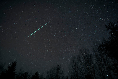 One of the bright fireballs seen late at night! This one was greenish and it lit up a part of the sky. This is a single image only (not a composite).  Canon 5D, Rokinon 24mm f.1.4 lens (set at f2.0)  Morning of December 14, 2017