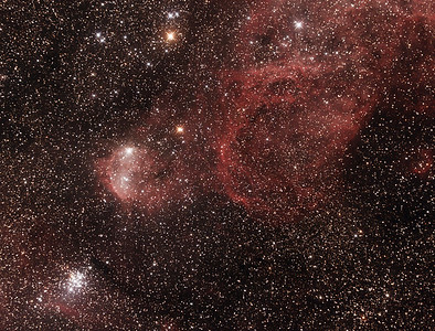 Gum31 IC2599 Galactic Nebula and NGC3293 The Little Jewel Box - 12/01/2018 (Cropped stacked image)