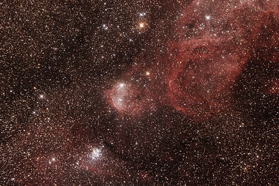 Gum31 IC2599 Galactic Nebula and NGC3293 The Little Jewel Box