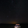 Ski boat under Orion & Taurus at Lake Towerrinning - 16/01/2021 (Processed single image)