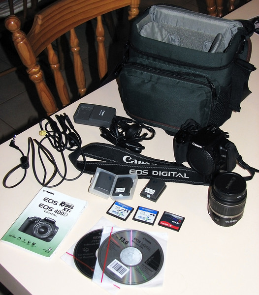 Canon 400D and accessories that I started out with - Acquired 27/03/2010